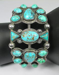 "Vintage Turquoise & Sterling Silver with ""Whirling Log"" Symbol Cuff"