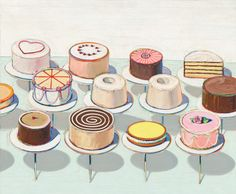 Cakes, by Wayne Thiebaud, 1963 - oil on canvas. Location: National Gallery of Art, Washington, DC.