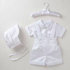 Boys Christening Suspender Short Set and Cap
