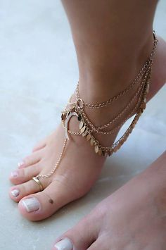 Double Chain Anklet with Swarovski Crystal Heart Pendant Heart