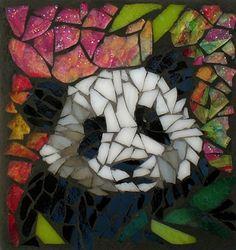 Mosaic Stained glass, panda by Sue Betanzos Mosaic Crafts, Mosaic Projects, Stained Glass Projects, Stained Glass Patterns, Mosaic Patterns, Stained Glass Art, Mosaic Glass, Mosaic Ideas, Mosaic Garden Art