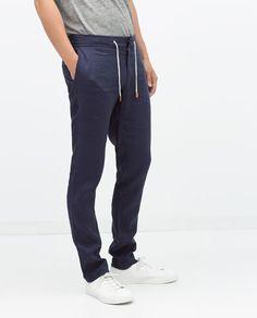 ZARA - HOMEM - CALÇAS DE LINHO Zara Official Website, Men Store, Sweatpants, Fashion, Zara Man, Men, Moda, Fashion Styles, Fashion Illustrations