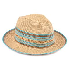 Summer Paper Straw Panama Hat With Striped Aztec (ST-310)