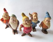 1930s Walt Disney Seven Dwarf Figurines, Doc, Happy, Sleepy, Sneezy, Bashful, Snow White Figurines