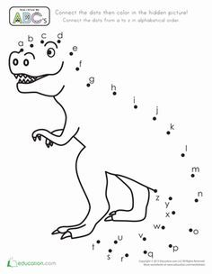 Preschool The Alphabet Dot-to-Dots Dinosaurs Worksheets: Connect-the-Dots Alphabet This dino connect the dots has the alphabet for kids to practice their lower case letters and fine motor skills. Dinosaur Worksheets, Dinosaur Activities, Dinosaur Crafts, Alphabet Worksheets, Alphabet Activities, Kindergarten Worksheets, Worksheets For Kids, Handwriting Worksheets, Printable Alphabet