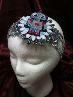 Handmade adult or child stretchy sequin headband Robot boy design on Etsy, $3.00