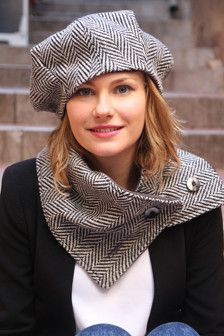 Womans hat and scarf set. French beret and scarf set in chevron wool fabric design. Unique and original delisa ensemble. Womans hat and scarf set. French beret and scarf set in chevron wool fabric design. Unique and original delisa ensemble. Hat And Scarf Sets, Scarf Hat, Turban Hijab, Hat Patterns To Sew, Stylish Hats, Cloche Hat, Wool Fabric, Mode Inspiration, Hats For Women