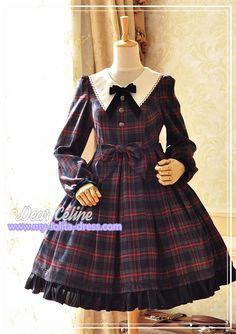 Winchester*** Vintage Tartan Lolita Long Sleeves OP Dress for Autumn and Winter $101.99 - My Lolita Dress