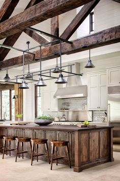 Awesome Rustic Farmhouse Kitchen Cabinets Decor Ideas Of Your Dreams – Rustic Kitchen Design, Kitchen Cabinet Remodel, Kitchen Cabinet Styles, Farmhouse Kitchen Cabinets, Farmhouse Style Kitchen, Modern Farmhouse Kitchens, Home Kitchens, Kitchen Modern, Eclectic Kitchen