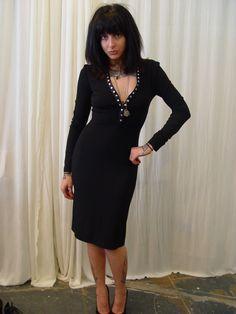 vintage CELINE sexy black dress plunging neck line LBD by mothlite, $280.00