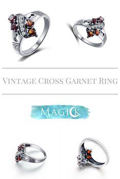 Vintage Cross Garnet Ring