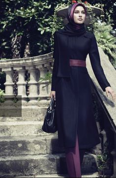 Very tidy and elegant office style. With black long coat that on non-hijabi will be a black coat-dress.