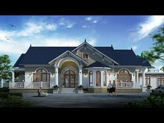 Tham khảo mẫu nhà biệt thự 1 tầng mái thái 4 phòng ngủ nhiều người xây - YouTube Buy Bedroom Furniture, House Plans Mansion, Mansions, House Styles, Youtube, Home Decor, Decoration Home, Manor Houses, Room Decor