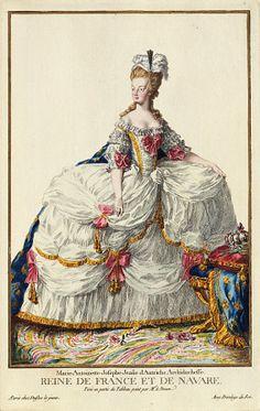 martie antionette clothing | Marie-Antoinette in court dress print | Grand Ladies | gogm