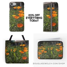 """20% Off Everything Today! including these """"California Poppies in the Garden"""" cases covers and totes.  There are hopes for a great  poppy bloom this year thanks to all our rain. I always look forward to seeing fields full of our state Flower and this photo is a great reminder of what's to come.  Carry these poppies with you every day!  #poppy #california #californiapoppy #eschscholzia #flowers #garden #nature #outdoors #products #cards #clothing #arts #crafts #technology #iphone #samsung…"""