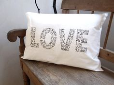 Cushion with LOVE // stamped of single letters by renna deluxe on Etsy, $89.27