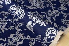 Japanese Fabric Kokka Echino - classic animals metallic - silver, blue - 50cm