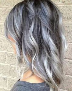 black hair, grey hair, hair, ombre hair, short hair, white hair