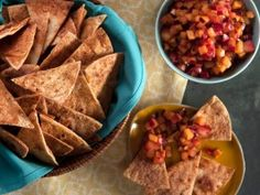 Stone Fruit Salsa with Cinnamon Chips : Recipes : Cooking Channel