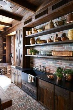 brick and wood wall unit