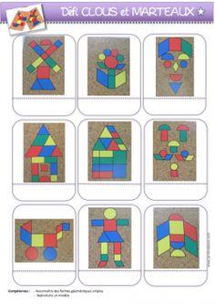 Free Preschool, Preschool Printables, Preschool Activities, Construction Theme Preschool, Block Center, Shape Pictures, Pattern Blocks, Diy Crafts For Kids, Kids Rugs