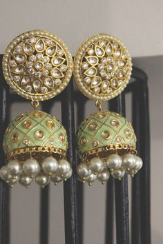 Green Meenakari and Kundan Jhumkas - Paisley Pop - - Indian Jewelry Earrings, Indian Jewelry Sets, Jewelry Design Earrings, Indian Wedding Jewelry, Gold Earrings Designs, Ear Jewelry, Indian Accessories, Ethnic Jewelry, Silver Earrings