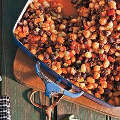 Smoky Three-Bean Bake Recipe < Portable of July Menu - Cooking Light Slow Cooker Baked Beans, Best Slow Cooker, Healthy Casserole Recipes, Healthy Recipes, Savoury Recipes, Vegetarian Recipes, Cooking Photos, Cooking Tips, Three Beans