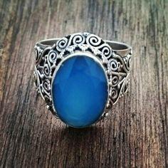 Anel com calcedônia azul 20206