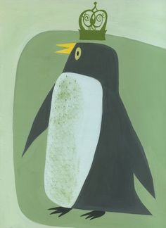 Penguin King.  Limited edition print by Matte Stephens.. $35.00, via Etsy.