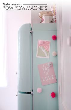 DIY Pom Pom Magnets - yes! And I want that fridge!