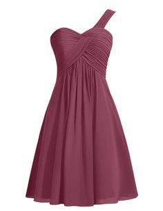 Simple A-line Ruffles One-shoulder Short Burgundy Bridesmaid Dress