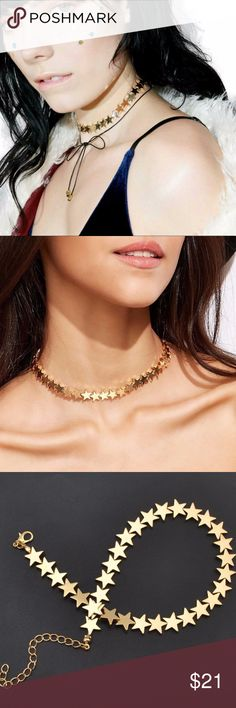 """Star Choker zinc alloy, gold tone, high polish, approx 16"""" Jewelry Necklaces"""