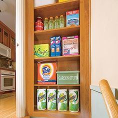 Money-Saving KITCHEN Storage: Pantry Niche -- Carve out a shallow shelving unit between studs. Frame the recess, line with plywood, and fit with shelf boards. For a finished look, trim the edges with moldings. Pantry Storage, Kitchen Organization, Wall Storage, Extra Storage, Organization Ideas, Kitchen Redo, Kitchen Remodel, Kitchen Ideas, Home