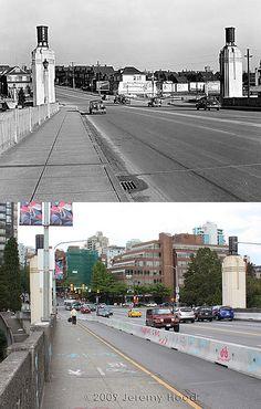 Burrard St from Burrard Bridge - 1940s/2009