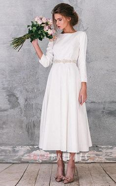 Tea-length wedding dress with long sleeves #modest #tznius
