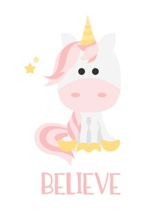 Unicorn Believe Magic Imagination Print Unicorn Nails, Baby Unicorn, Unicorn Art, Magical Unicorn, Cute Unicorn, Rainbow Unicorn, Unicorn Club, Unicornio Poster, Unicorn Quotes