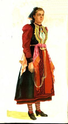 Albanian costume from Dardha Folk Clothing, Folk Costume, Traditional Dresses, Folklore, Oriental, Southern, Gowns, Illustrations, History