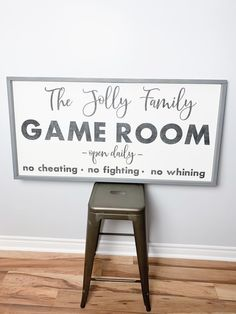 This sign is the perfect decor piece for a game room. #gamerroom #gameroomdecor #gameroomdesign #gameroombasement #recroom #basement Family Games For Kids, Family Games Indoor, Game Room Decor, Room Setup, Game Room Bar, Small Game Rooms, Family Game Rooms, Game Room Basement, Game Room Design