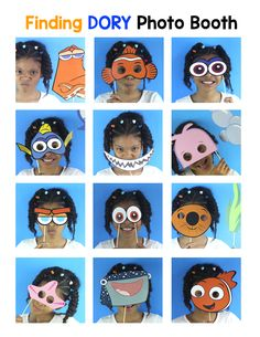 Finding Dory Party Photo Booth Props for your Finding Dory/Nemo Party. Your guests will have a blast taking pictures with these cute Dory and Nemo Props.