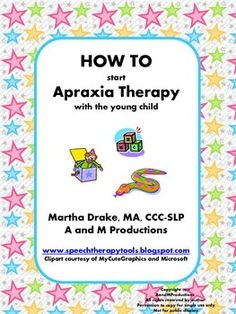 It is difficult to know how to start therapy with a young nonverbal child that you suspect may have childhood apraxia of speech. The child is often not ready for a structured approach involving imitation, placement cues and flashcards. This product gives you a starting point with toy suggestions, corresponding pictures and steps to follow.