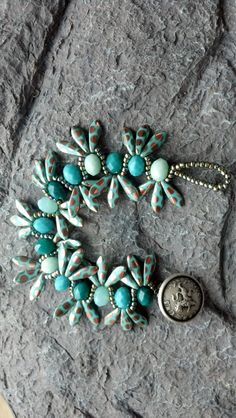 aloha bracelet in shades of aqua & by redhorseranchjewelry on Etsy, $40.00