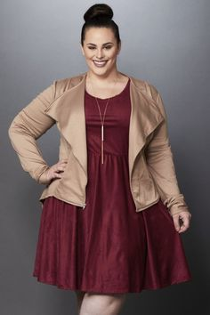 Florence Faux Suede Skater Dress - Burgundy