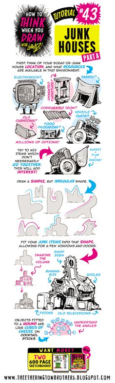 Scroll down for today's FULL tutorial, looking at How to THINK When you draw JUNK HOUSES! This tutorial was drawn using THESE AMAZING PENS. ...