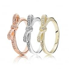 PANDORA | Rose Delicate Bow Triple Ring Stack #JohnGreed