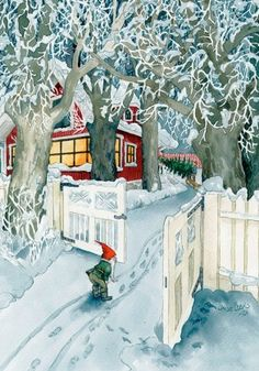 Wholesale Postcards of Inge Look, number 213 Swedish Christmas, Noel Christmas, Vintage Christmas Cards, Scandinavian Christmas, Christmas Postcards, Illustration Noel, Christmas Illustration, Winter Scenes, Up Girl
