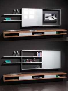 Clever Ways to Hide Your Television - The Architects Diary- Angeles Crespo Cuellar Living Room Tv, Home And Living, Living Spaces, Tv Wall Design, House Design, Tv Escondida, Hidden Tv Cabinet, Tv Furniture, Tv In Bedroom