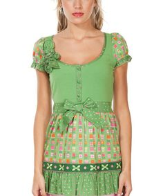 Look what I found on #zulily! Green & Pink Titaland Scoop Neck Top by Rosalita McGee #zulilyfinds