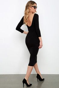 As Seen On Natalie of @natalietasha! You'll be catching kisses left and right when you strut your stuff in the Va Va Voom Black Backless Midi Dress! Curve-loving stretch knit hugs your figure from a high, rounded neckline down to a midi-length hem. Long sleeves frame an ultra-deep V (with hidden V-bar for added structure) at back that dips low to show off your sexy side. Kick pleat at back.