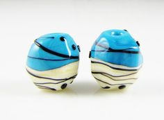 Two Color Hollow Nugget Lampwork Glass Bead Pairs by AlishaWhite
