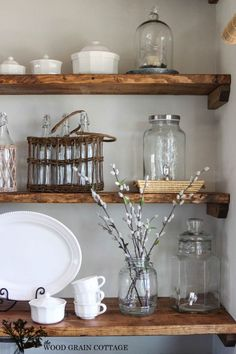 Styled Dining Room Shelving - The Wood Grain Cottage